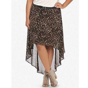 Torrid *NWT* Hi/Lo Animal Print Chiffon Skirt 16